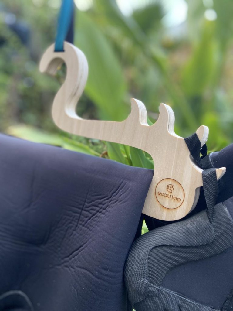 Wetsuit hanger made from recycled wetsuits & FSC wood