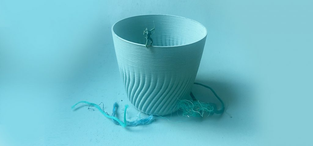 Plant pots made from recycled ocean plastics. Reducing plastic in our oceans