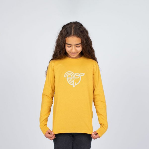 Eco-friendly Clean Seas Kids sweatshirt bright yellow product with young girl modelling