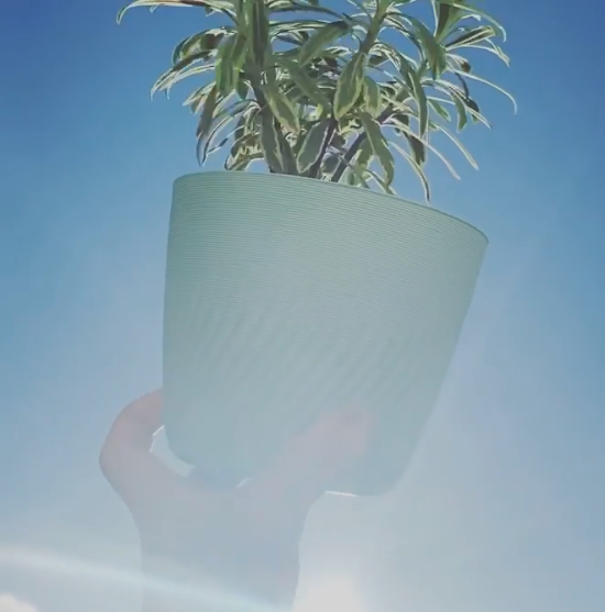 Prototype Plant Pot made from recycled ocean plastics
